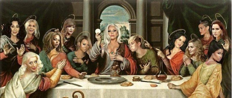Releitura de A Última Ceia com cantoras pop no lugar dos apóstolos e Lady Gaga como Jesus Cristo