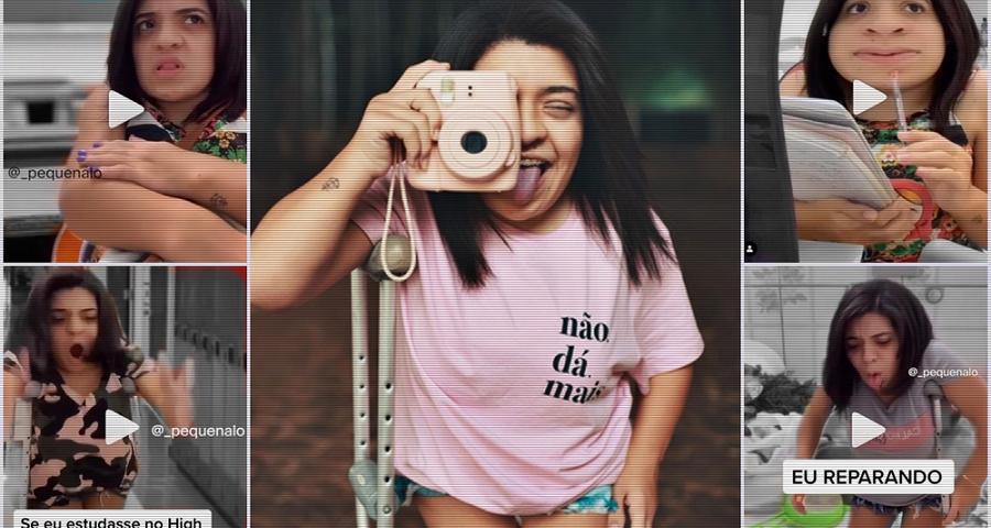 Montagem com várias imagens da humorista Pequena Lô em diferentes momentos de suas redes sociais