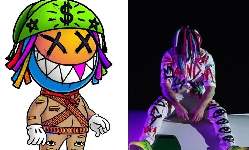 disco de Whindersson Nunes: desenho de um boneco vestido de cangaceiro com o chapéu e o cabelo coloridos (à esquerda) e uma foto de Whindersson Nunes com roupa colorida em um fundo escuro (direita)