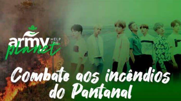 Imagem da campanha criada por fãs do BTS com a frase COmbate aos Incêndios do Pantanal e a foto do BTS