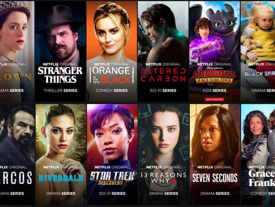 Vários títulos de séries da Netflix lado a lado
