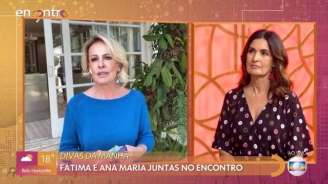 Ana Maria Braga de blusa azul à esquerda e Fátima Bernardes de roupa estampada à direita, ambas no programa Encontro, onde o Mais Você vem sendo exibido