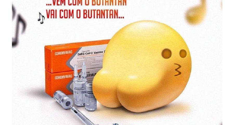 """Bum Bum Tam Tam: Meme do emoji """"Bota"""" ao lado de uma caixa da CoronaVac e os dizeres """"Vem com o Butantã"""""""